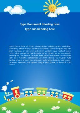 Jolly Train Ride Word Template, Cover Page, 08543, Education & Training — PoweredTemplate.com