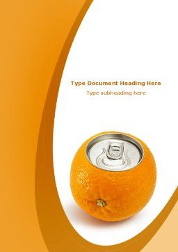 Orange In Can Word Template, Cover Page, 08544, Careers/Industry — PoweredTemplate.com