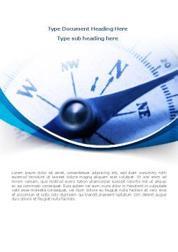 Blue Compass Word Template, Cover Page, 08568, Business Concepts — PoweredTemplate.com