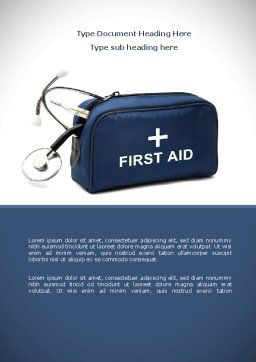 First Aid Kit Blue Box Word Template, Cover Page, 08569, Medical — PoweredTemplate.com