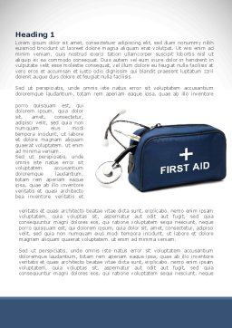 First Aid Kit Blue Box Word Template, First Inner Page, 08569, Medical — PoweredTemplate.com