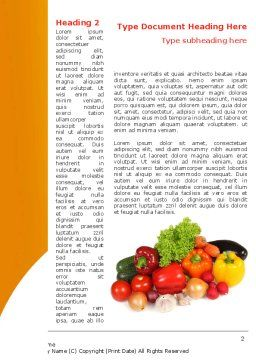 Vegetable Diet Word Template, First Inner Page, 08574, Food & Beverage — PoweredTemplate.com