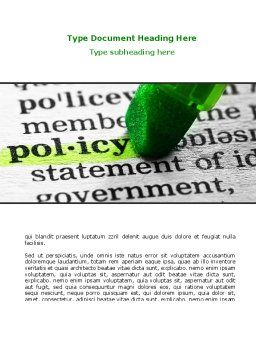 Policy Word Template, Cover Page, 08581, Legal — PoweredTemplate.com