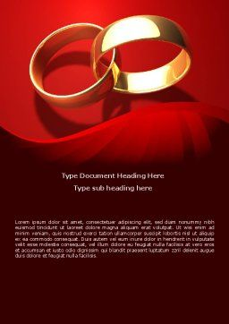 Wedding Rings On A Bright Red Background Word Template, Cover Page, 08582, Holiday/Special Occasion — PoweredTemplate.com
