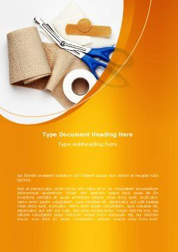 Bandage And Scissors Word Template, Cover Page, 08613, Medical — PoweredTemplate.com