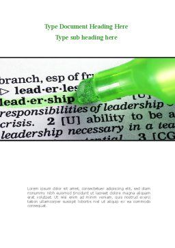 Rights And Responsibilities Of A Leader Word Template, Cover Page, 08628, Consulting — PoweredTemplate.com