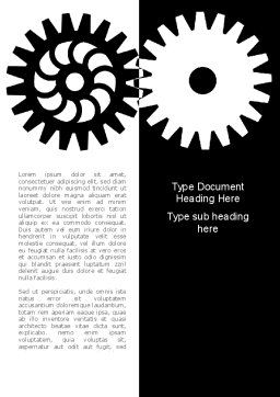 Black And White Gears Word Template, Cover Page, 08632, Consulting — PoweredTemplate.com