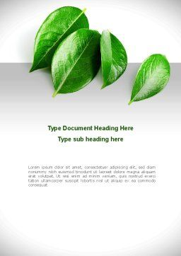 Green Leaves Word Template, Cover Page, 08639, Agriculture and Animals — PoweredTemplate.com