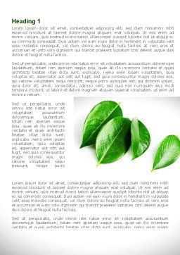 Green Leaves Word Template, First Inner Page, 08639, Agriculture and Animals — PoweredTemplate.com