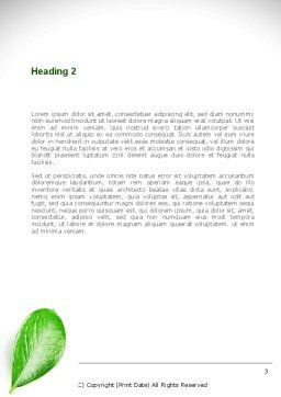Green Leaves Word Template, Second Inner Page, 08639, Agriculture and Animals — PoweredTemplate.com