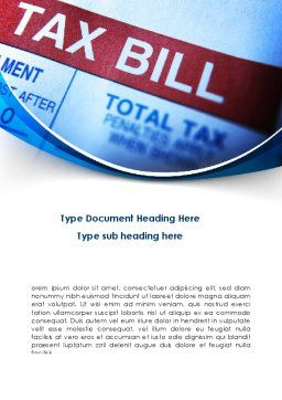 Tax Bill Word Template Cover Page