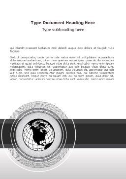 Globe In A Grayscale Word Template, Cover Page, 08663, Global — PoweredTemplate.com