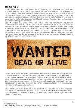 Wanted Criminal Word Template, First Inner Page, 08672, Legal — PoweredTemplate.com