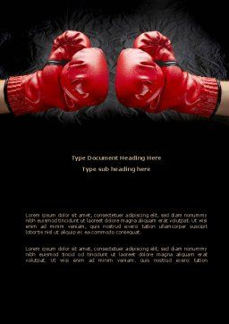 Red Boxing Gloves Word Template, Cover Page, 08680, Business Concepts — PoweredTemplate.com
