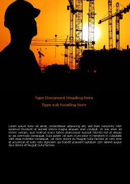City Silhouette On The Sunset Word Template, Cover Page, 08682, Construction — PoweredTemplate.com