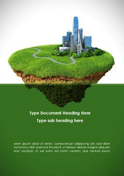 Green Downtown Word Template, Cover Page, 08688, Construction — PoweredTemplate.com