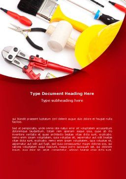 Instruments For Construction Word Template, Cover Page, 08702, Utilities/Industrial — PoweredTemplate.com