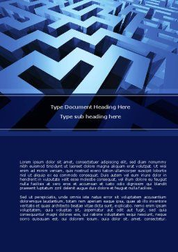 Blue Labyrinth Word Template, Cover Page, 08706, Consulting — PoweredTemplate.com