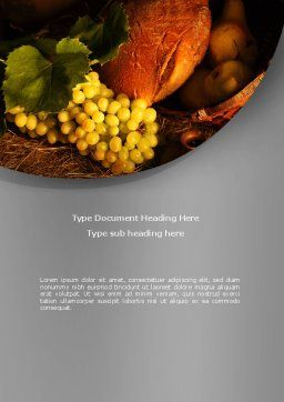 Food Basket Word Template, Cover Page, 08710, Agriculture and Animals — PoweredTemplate.com