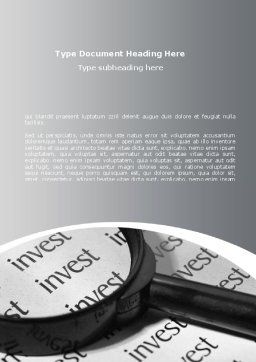 Investments Search Word Template Cover Page