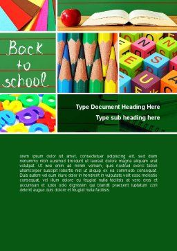 School Stationery For Learning Process Word Template, Cover Page, 08715, Education & Training — PoweredTemplate.com