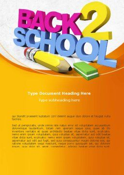 Back 2 School Word Template, Cover Page, 08735, Education & Training — PoweredTemplate.com