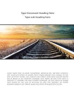 Railroad Stretching Into The Distance Word Template, Cover Page, 08736, Construction — PoweredTemplate.com