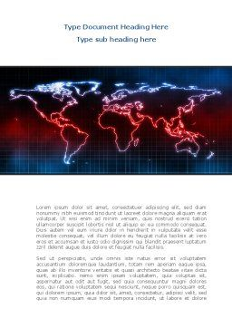 Neon Light World Map Word Template Cover Page