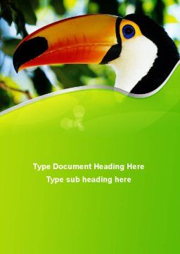 Southern Mexico Toucan Word Template, Cover Page, 08813, Agriculture and Animals — PoweredTemplate.com