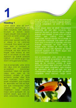 Southern Mexico Toucan Word Template, First Inner Page, 08813, Agriculture and Animals — PoweredTemplate.com