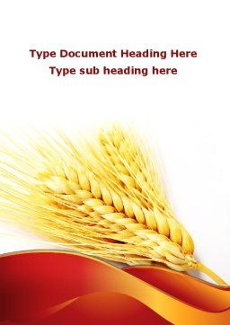 Wheat Harvest Word Template, Cover Page, 08814, Agriculture and Animals — PoweredTemplate.com