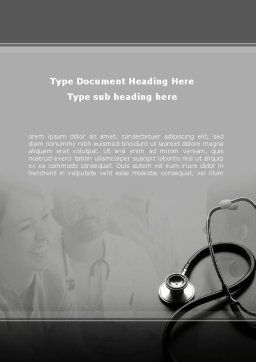 Phonendoscope Word Template, Cover Page, 08820, Medical — PoweredTemplate.com
