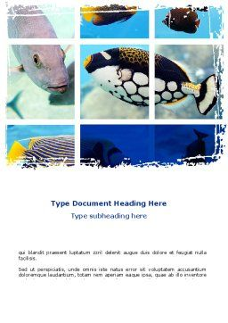 Tropical Fish Collage Word Template, Cover Page, 08824, Agriculture and Animals — PoweredTemplate.com