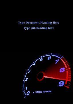 Tachometer Word Template, Cover Page, 08828, Cars/Transportation — PoweredTemplate.com