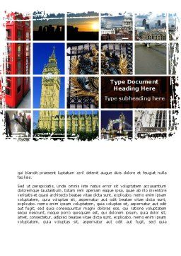 Vacation In London Word Template, Cover Page, 08836, Flags/International — PoweredTemplate.com
