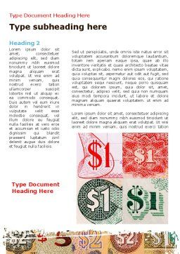 Dollar Banknotes Word Template First Inner Page