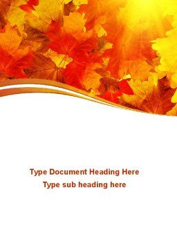 Red Leaves in Fall Word Template Cover Page