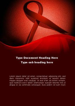 Red Ribbon Awareness Word Template, Cover Page, 08856, Medical — PoweredTemplate.com