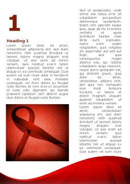 Red Ribbon Awareness Word Template, First Inner Page, 08856, Medical — PoweredTemplate.com