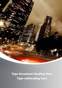 Twilight In The City Word Template, Cover Page, 08864, Business — PoweredTemplate.com