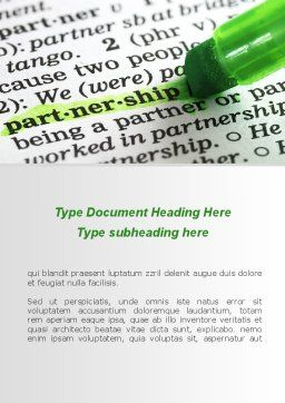 Definition Of Partnership Word Template, Cover Page, 08881, Business — PoweredTemplate.com