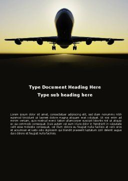 Jet Airliner Word Template, Cover Page, 08883, Cars/Transportation — PoweredTemplate.com