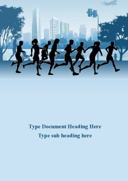 Jogging Theme Word Template, Cover Page, 08895, Sports — PoweredTemplate.com