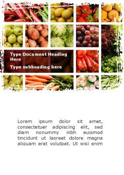 Vegetables Collage Word Template, Cover Page, 08913, Agriculture and Animals — PoweredTemplate.com
