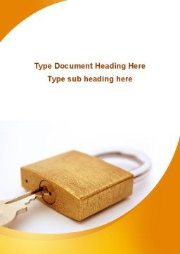Brass Padlock Word Template, Cover Page, 08930, Careers/Industry — PoweredTemplate.com