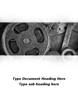 Cog Wheels Word Template, Cover Page, 08934, Utilities/Industrial — PoweredTemplate.com
