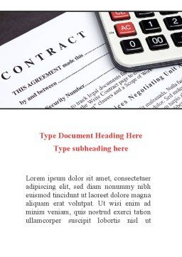 Calculation Contract Word Template, Cover Page, 08937, Financial/Accounting — PoweredTemplate.com
