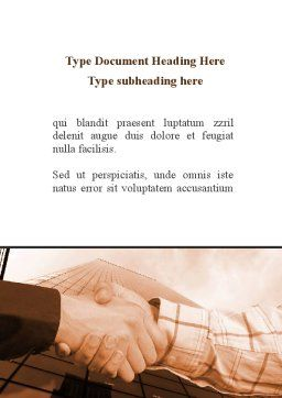 Handshake In Sepia Word Template, Cover Page, 08941, Business — PoweredTemplate.com
