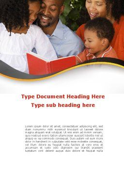 Happy Family Reading Bible Word Template, Cover Page, 08942, People — PoweredTemplate.com