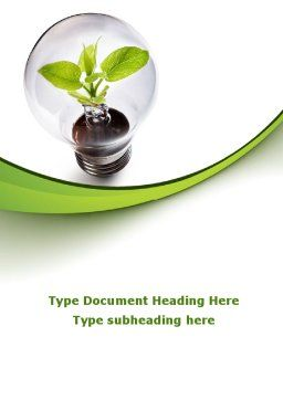 Renewable Green Energy Word Template, Cover Page, 08950, Nature & Environment — PoweredTemplate.com